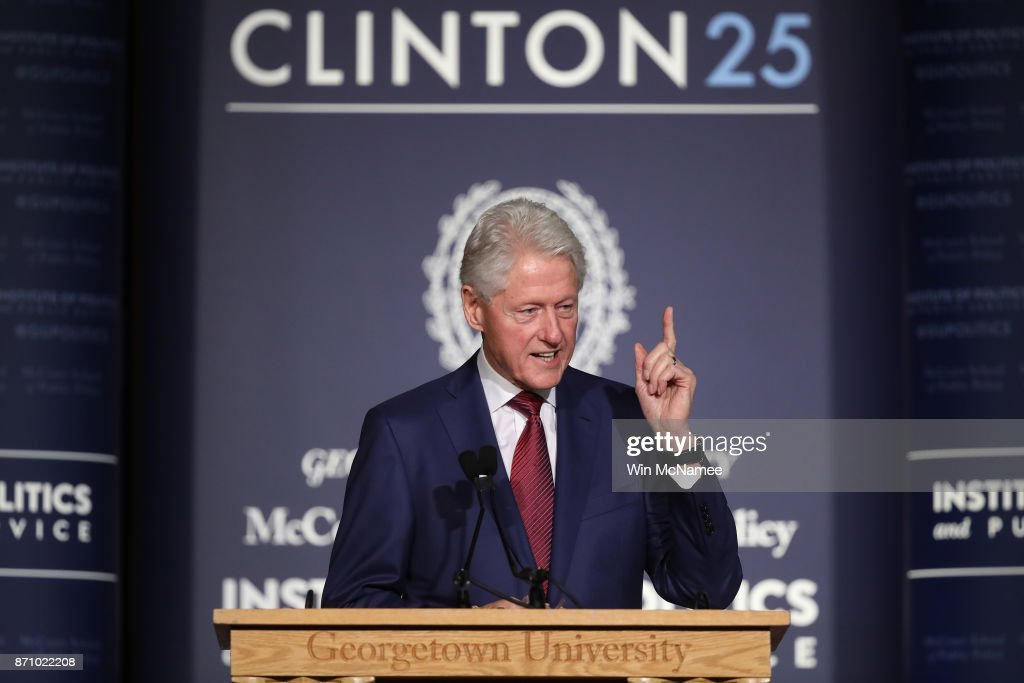 Former U.S. President Bill Clinton speaks at Georgetown University's Gaston Hall November 6, 2017 in Washington, DC. Clinton's speech marked the 25th anniversary of his election to the presidency in 1992.