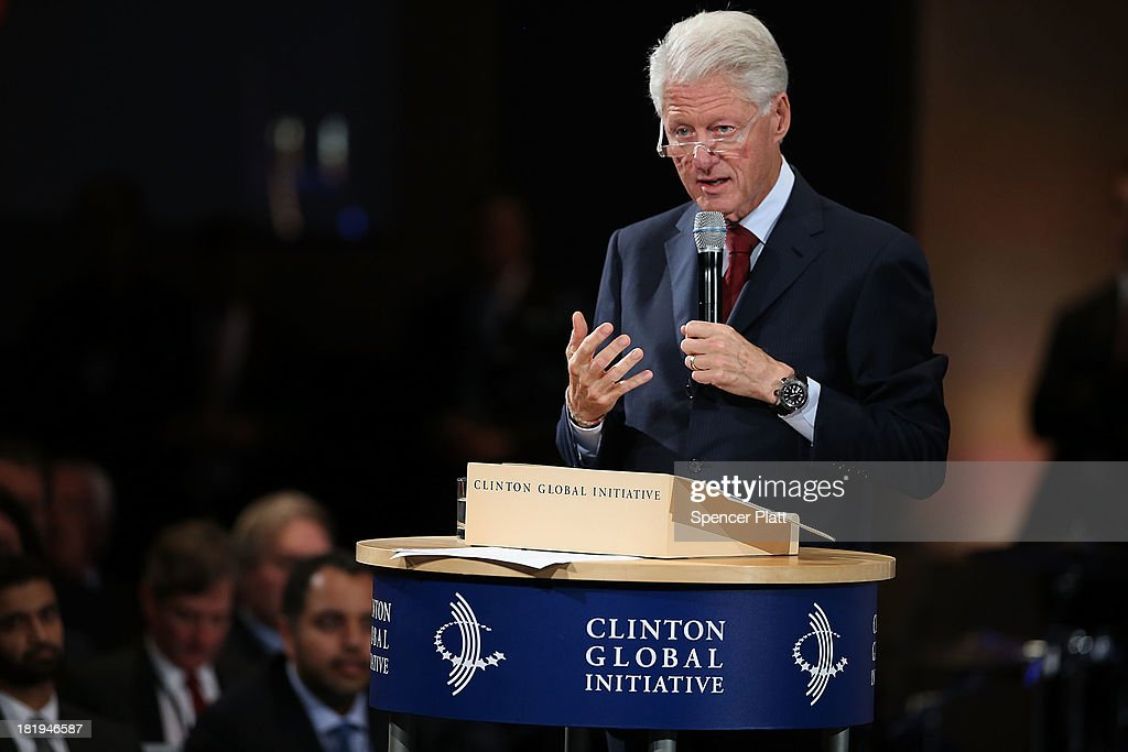 Former U.S. President <a gi-track='captionPersonalityLinkClicked' href=/galleries/search?phrase=Bill+Clinton&family=editorial&specificpeople=67203 ng-click='$event.stopPropagation()'>Bill Clinton</a> speaks at the closing session of the Clinton Global Initiative (CGI) on September 26, 2013 in New York City. Timed to coincide with the United Nations General Assembly, CGI brings together heads of state, CEOs, philanthropists and others to help find solutions to the world's major problems.