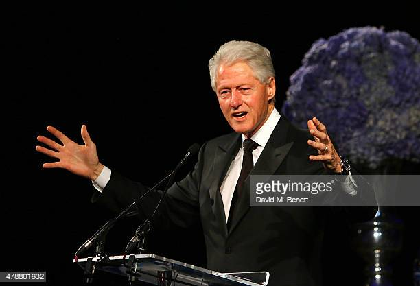 Former US President Bill Clinton speaks at the inaugural Walkabout Foundation gala at Natural History Museum on June 27 2015 in London England