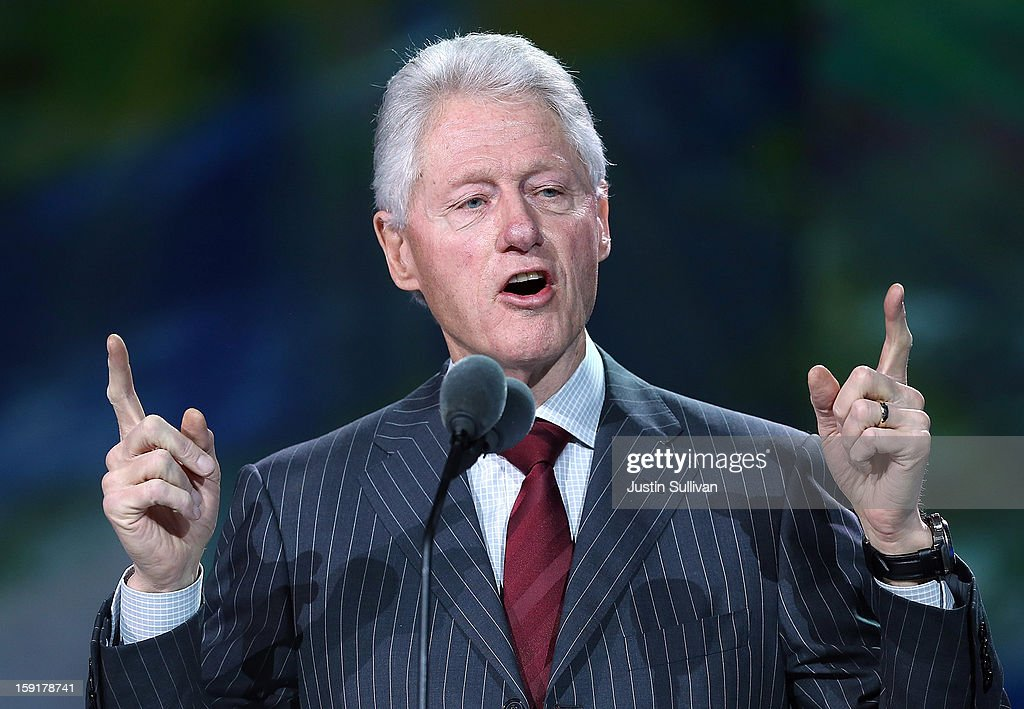 Former U.S. President <a gi-track='captionPersonalityLinkClicked' href=/galleries/search?phrase=Bill+Clinton&family=editorial&specificpeople=67203 ng-click='$event.stopPropagation()'>Bill Clinton</a> speaks during a Samsung keynote address at the 2013 International CES at The Venetian on January 9, 2013 in Las Vegas, Nevada. CES, the world's largest annual consumer technology trade show, runs through January 11 and is expected to feature 3,100 exhibitors showing off their latest products and services to about 150,000 attendees.