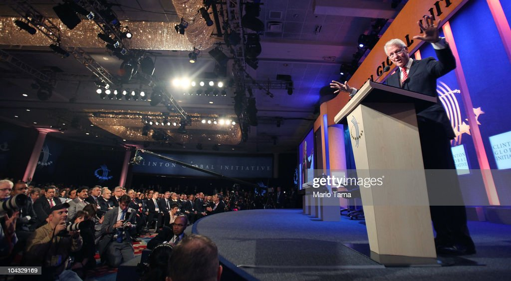 Former U.S. President <a gi-track='captionPersonalityLinkClicked' href=/galleries/search?phrase=Bill+Clinton&family=editorial&specificpeople=67203 ng-click='$event.stopPropagation()'>Bill Clinton</a> speaks during the annual Clinton Global Initiative (CGI) September 21, 2010 in New York City. The sixth annual meeting of the CGI gathers prominent individuals in politics, business, science, academics, religion and entertainment to discuss global issues such as climate change and the reconstruction of Haiti. The event, founded by Clinton after he left office, is held the same week as the General Assembly at the United Nations, when most world leaders are in New York City.