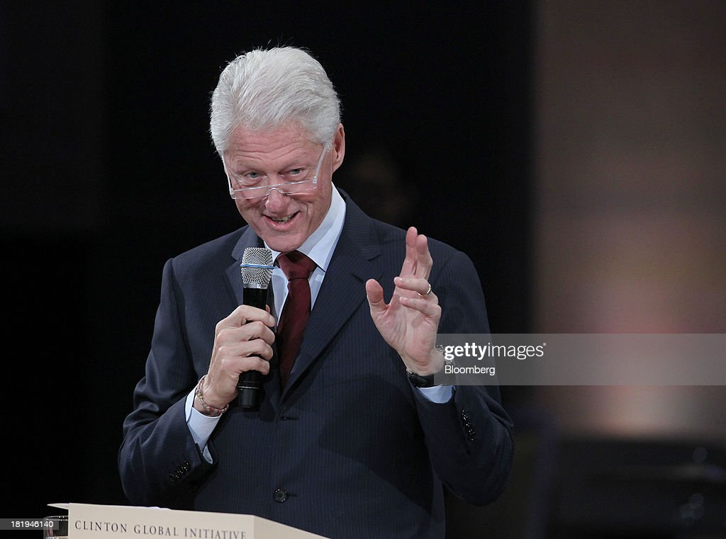 Former U.S. President <a gi-track='captionPersonalityLinkClicked' href=/galleries/search?phrase=Bill+Clinton&family=editorial&specificpeople=67203 ng-click='$event.stopPropagation()'>Bill Clinton</a>, speaks during the annual meeting of the Clinton Global Initiative (CGI) in New York, U.S., on Thursday, Sept. 26, 2013. CGI's 2013 theme, mobilizing for impact, explores ways that members and organizations can be more effective in leveraging individuals, partner organizations, and key resources in their commitment efforts. Photographer: Jin Lee/Bloomberg via Getty Images