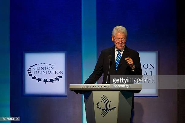 Former US President Bill Clinton speaks during the annual meeting of the Clinton Global Initiative in New York US on Monday Sept 19 2016 The annual...