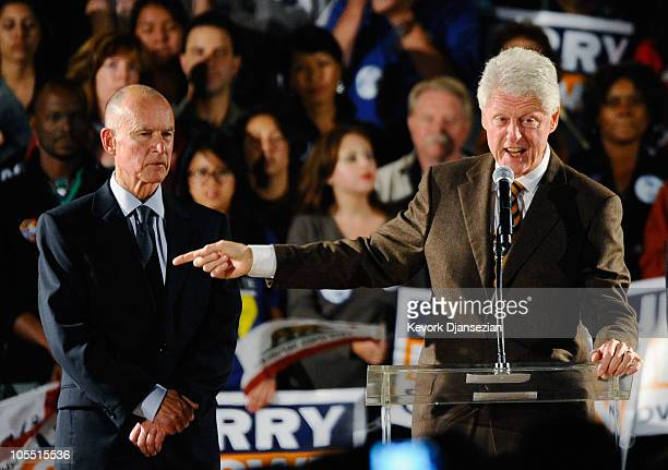 Former US President Bill Clinton speaks during the Democratic National Committee rally on the campus of UCLA with Democratic gubernatorial candidate...