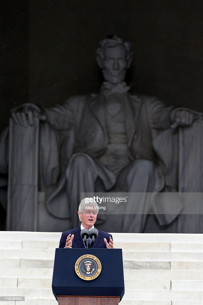 Former U.S. President Bill Clinton speaks during the Let Freedom Ring ceremony on the steps of the Lincoln Memorial August 28, 2013 in Washington, DC. The event was to commemorate the 50th anniversary of Dr. Martin Luther King Jr.'s 'I Have a Dream' speech and the March on Washington for Jobs and Freedom.