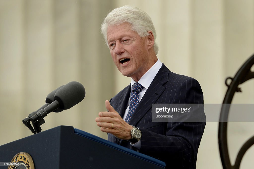 Former U.S. President <a gi-track='captionPersonalityLinkClicked' href=/galleries/search?phrase=Bill+Clinton&family=editorial&specificpeople=67203 ng-click='$event.stopPropagation()'>Bill Clinton</a> speaks during the Let Freedom Ring commemoration event at the Lincoln Memorial in Washington, D.C., U.S., on Wednesday, Aug. 28, 2013. U.S. President Barack Obama, speaking from the same Washington stage where Martin Luther King Jr. delivered a defining speech of the civil rights movement, said that even as the nation has been transformed, work remains in countering growing economic disparities. Photographer: Michael Reynolds/Pool via Bloomberg