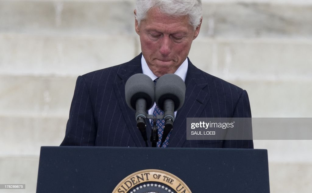 Former US president Bill Clinton speaks during the Let Freedom Ring Commemoration and Call to Action marking the 50th anniversary of the March on Washington for Jobs and Freedom at the Lincoln Memorial in Washington, DC on August 28, 2013. Thousands gathered on the mall on the anniversary of the march and Dr. Martin Luther King, Jr.'s famous 'I Have a Dream' speech. AFP PHOTO / Saul LOEB