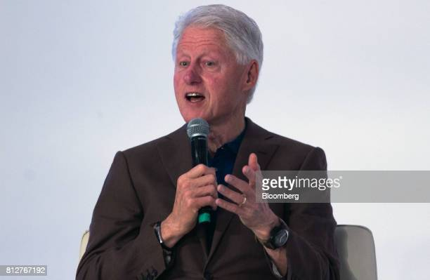 Former US President Bill Clinton speaks during the World Coffee Producers Forum in Medellin Colombia on Tuesday July 11 2017The World Coffee...