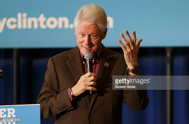Former US President Bill Clinton speaks on behalf of his wife Democratic presidential nominee Hillary Clinton during a campaign event at Dartmouth...