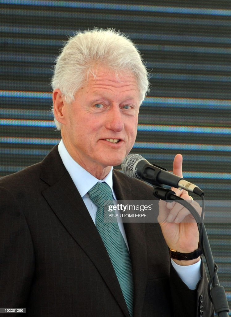 Former US President Bill Clinton speaks on February 21, 2013 during the inauguration ceremony for the first phase of the Eko Atlantic real estate project, in Lagos, Nigeria. Eko Atlantic or Eko Atlantic City is a planned district of Lagos, Nigeria, being constructed on land reclaimed from the Atlantic Ocean. It will house some 250,000 people and be a workplace for another 150,000.