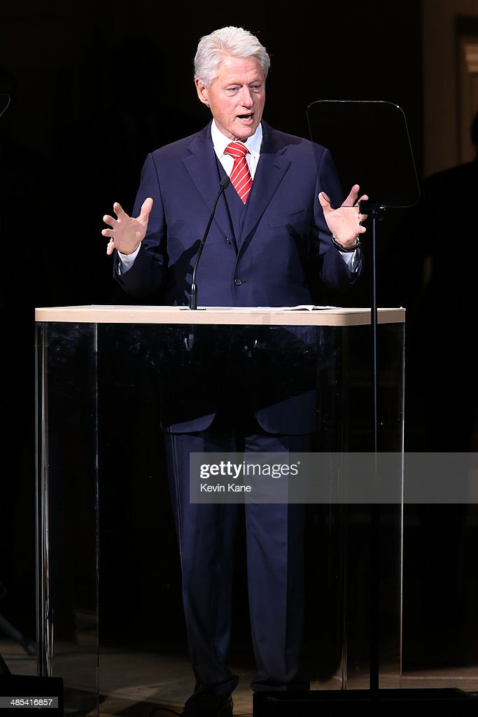 Former US President Bill Clinton speaks on stage at The 2014 Revlon Concert For The Rainforest Fund at Carnegie Hall on April 17, 2014 in New York City.