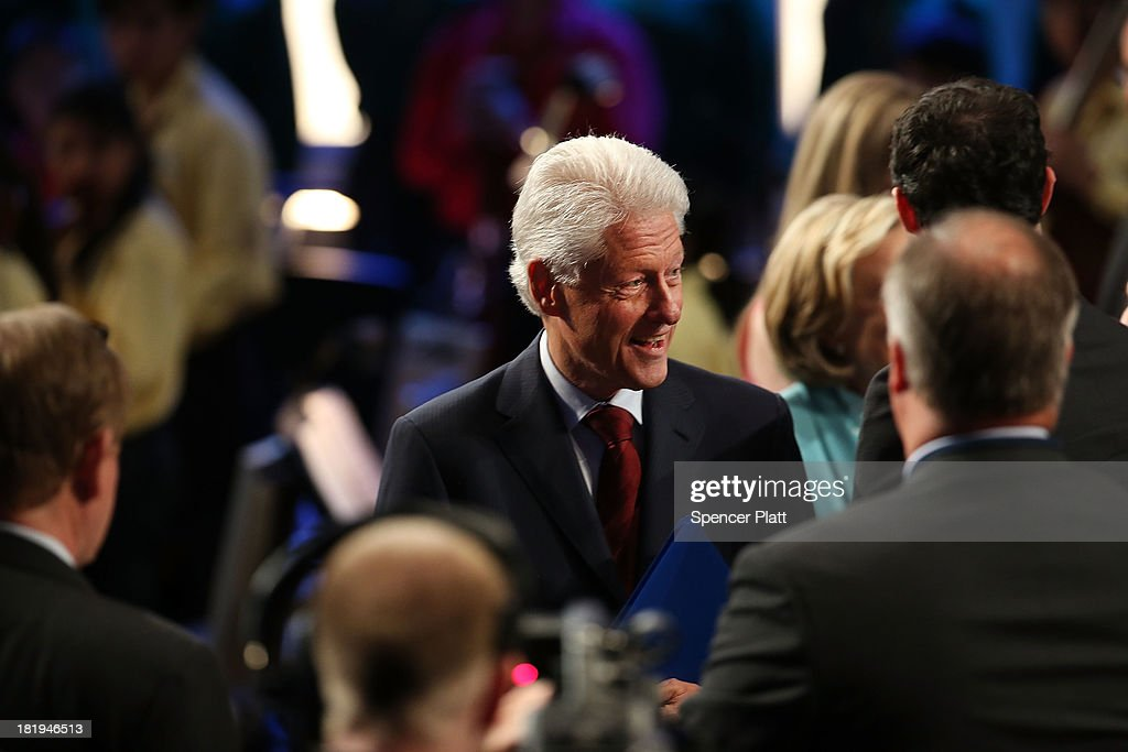 Former U.S. President Bill Clinton speaks with audience members at the closing session of the Clinton Global Initiative (CGI) on September 26, 2013 in New York City. Timed to coincide with the United Nations General Assembly, CGI brings together heads of state, CEOs, philanthropists and others to help find solutions to the world's major problems.