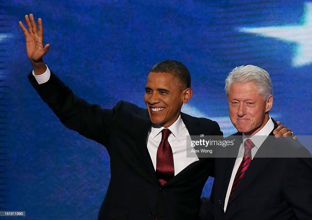 Former U.S. President <a gi-track='captionPersonalityLinkClicked' href=/galleries/search?phrase=Bill+Clinton&family=editorial&specificpeople=67203 ng-click='$event.stopPropagation()'>Bill Clinton</a> stands with Democratic presidential candidate, U.S. President <a gi-track='captionPersonalityLinkClicked' href=/galleries/search?phrase=Barack+Obama&family=editorial&specificpeople=203260 ng-click='$event.stopPropagation()'>Barack Obama</a> (L) on stage during day two of the Democratic National Convention at Time Warner Cable Arena on September 5, 2012 in Charlotte, North Carolina. The DNC that will run through September 7, will nominate U.S. President <a gi-track='captionPersonalityLinkClicked' href=/galleries/search?phrase=Barack+Obama&family=editorial&specificpeople=203260 ng-click='$event.stopPropagation()'>Barack Obama</a> as the Democratic presidential candidate.