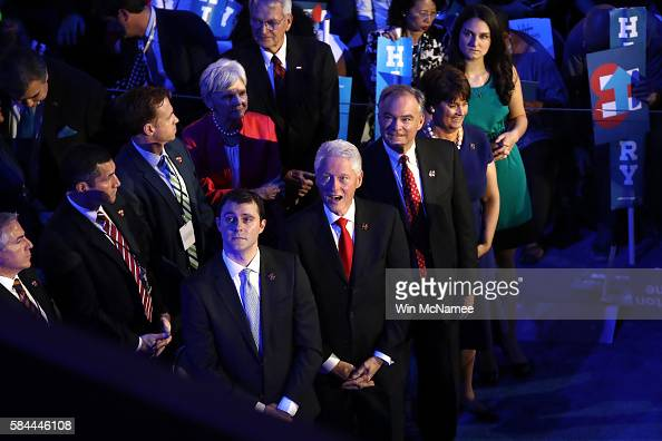 Former US President Bill Clinton stands with US Vice President nominee Tim Kaine along with his wife Anne Holton and daugher Annella Kaine and Marc...