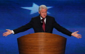 Former US President Bill Clintonspeaks on stage during day two of the Democratic National Convention at Time Warner Cable Arena on September 5 2012...