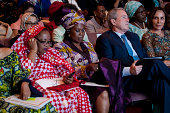 Former US President George W Bush sits with the spouses of African leaders at a Spousal Symposium at the John F Kennedy Center for the Performing...