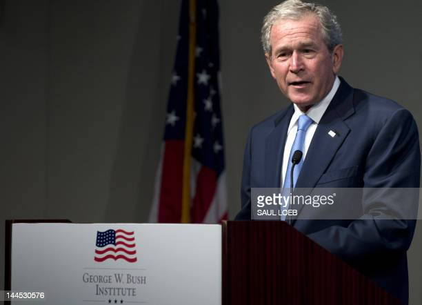 Former US President George W Bush speaks during an event celebrating the success of dissidents and activists from around the world hosted by the...