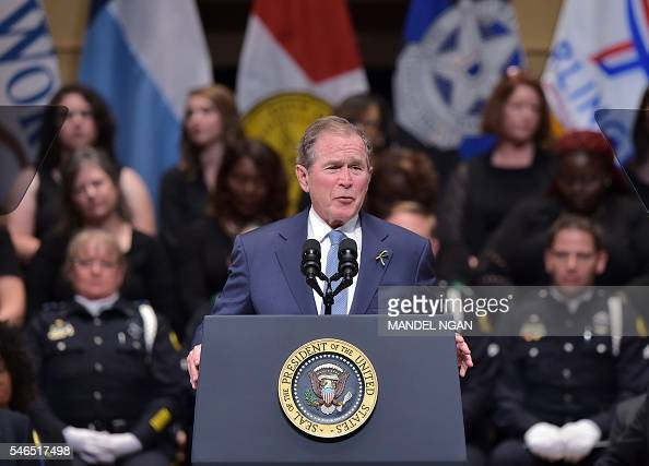 Former US president George W Bush speaks during an interfaith memorial service for the victims of the Dallas police shooting at the Morton H Meyerson...