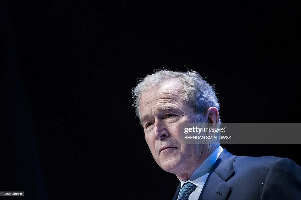 Former US President George W Bush speaks during 'Investing in Our Future' at the USAfrica Leaders Summit at the Kennedy Center August 6 2014 in...