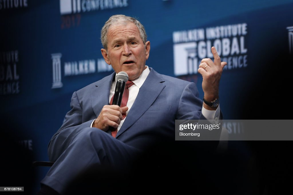 Former U.S. President George W. Bush speaks during the Milken Institute GlobalConference in Beverly Hills, California, U.S., on Wednesday, May 3, 2017. The conference is a unique setting that convenes individuals with the capital, power and influence to move the world forward meet face-to-face with those whose expertise and creativity are reinventing industry, philanthropy and media. Photographer: Patrick T. Fallon/Bloomberg via Getty Images