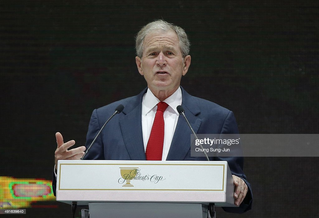 Former US President George W Bush speaks during the opening ceremony of the 2015 Presidents Cup at the Convensia ceremony hall on October 7 2015 in...