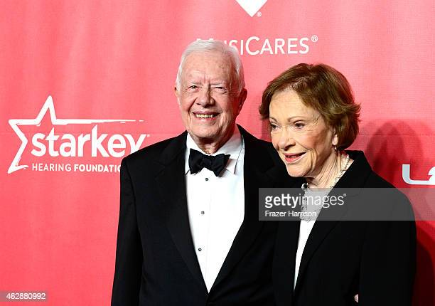 Former US President Jimmy Carter and former First Lady Rosalynn Carter attend the 25th anniversary MusiCares 2015 Person Of The Year Gala honoring...