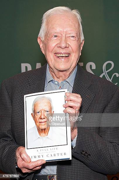 Former US President Jimmy Carter promotes his book 'Full Life Reflections at Ninety' at Barnes Noble 5th Avenue on July 7 2015 in New York City...