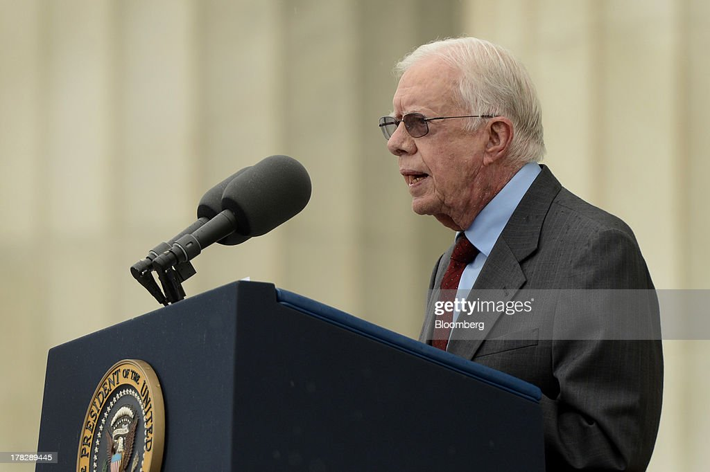 Former U.S. President <a gi-track='captionPersonalityLinkClicked' href=/galleries/search?phrase=Jimmy+Carter+-+US+President&family=editorial&specificpeople=93589 ng-click='$event.stopPropagation()'>Jimmy Carter</a> speaks during the Let Freedom Ring commemoration event at the Lincoln Memorial in Washington, D.C., U.S., on Wednesday, Aug. 28, 2013. U.S. President Barack Obama, speaking from the same Washington stage where Martin Luther King Jr. delivered a defining speech of the civil rights movement, said that even as the nation has been transformed, work remains in countering growing economic disparities. Photographer: Michael Reynolds/Pool via Bloomberg