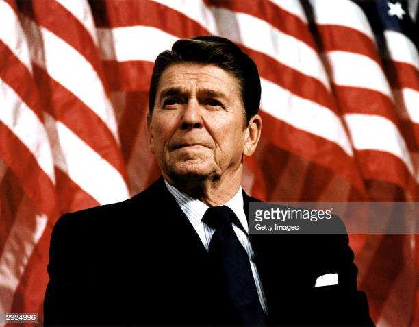 Former US President Ronald Reagan speaks at a rally for Senator Durenberger February 8 1982 Reagan turns 93 on February 6 2004