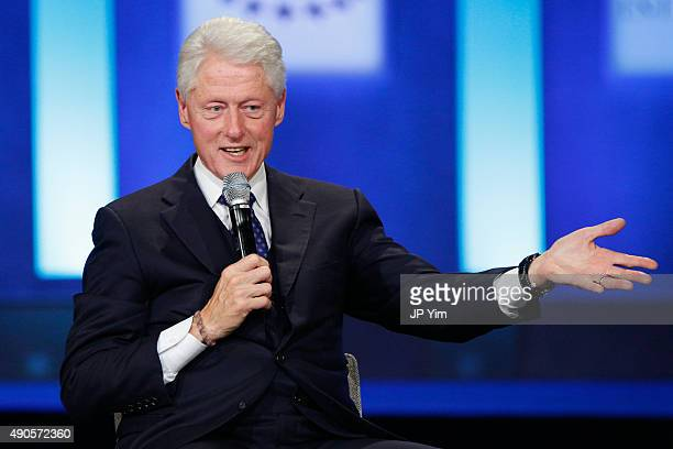 Former US President speaks on stage at the closing session of the Clinton Global Initiative 2015 on September 29 2015 in New York City