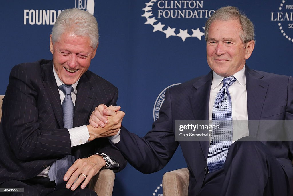 Former US presidents Bill Clinton and George W Bush talk about their hopes for the Presidential Leadership Scholars program at the Newseum September...