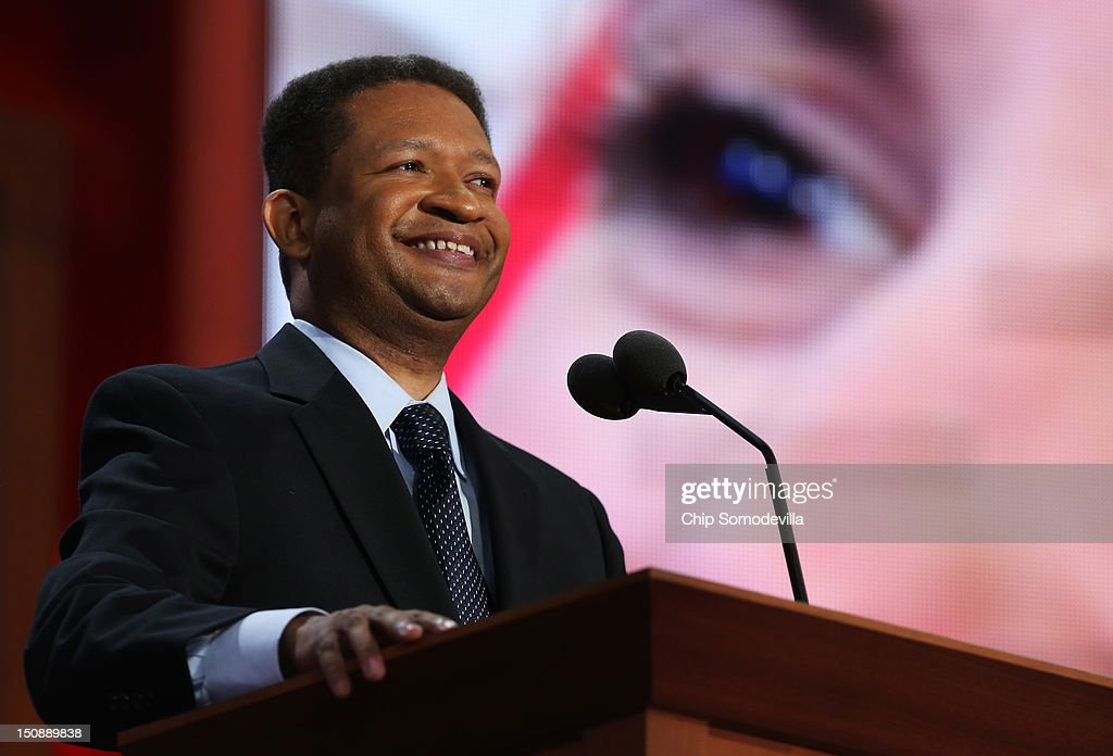 Former US Rep Artur Davis speaks during the Republican National Convention at the Tampa Bay Times Forum on August 28 2012 in Tampa Florida Today is...
