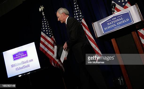 Former US Rep Asa Hutchinson departs after announcing the recommendations of the NRA backed National School Shield Program regarding school security...