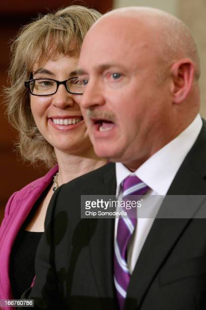 Former US Rep Gabrielle Giffords and her husband former astronaut Mark Kelly speak during the dedication ceremony of the Gabriel Zimmerman Meeting...