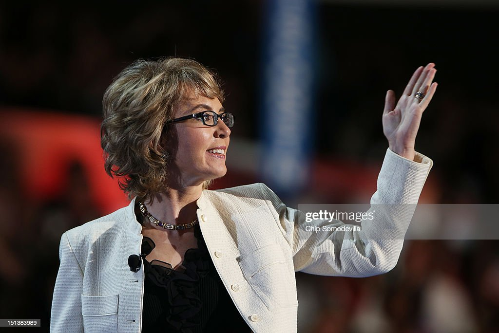 Former U.S. Rep. Gabrielle Giffords (D-NV) walks on stage during the final day of the Democratic National Convention at Time Warner Cable Arena on September 6, 2012 in Charlotte, North Carolina. The DNC, which concludes today, nominated U.S. President Barack Obama as the Democratic presidential candidate.