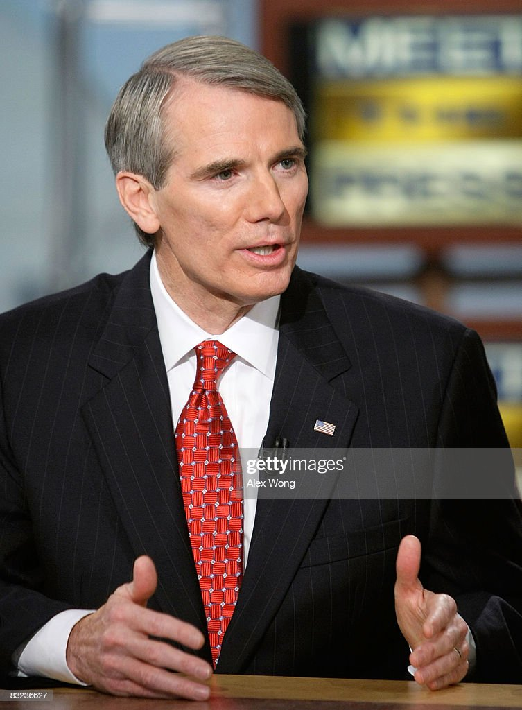 Former U.S. Rep. <a gi-track='captionPersonalityLinkClicked' href=/galleries/search?phrase=Rob+Portman&family=editorial&specificpeople=226973 ng-click='$event.stopPropagation()'>Rob Portman</a> (R-OH), a McCain supporter, speaks during a taping of Meet the Press at the NBC studios October 12, 2008 in Washington, DC. Portman spoke about the U.S. economy.