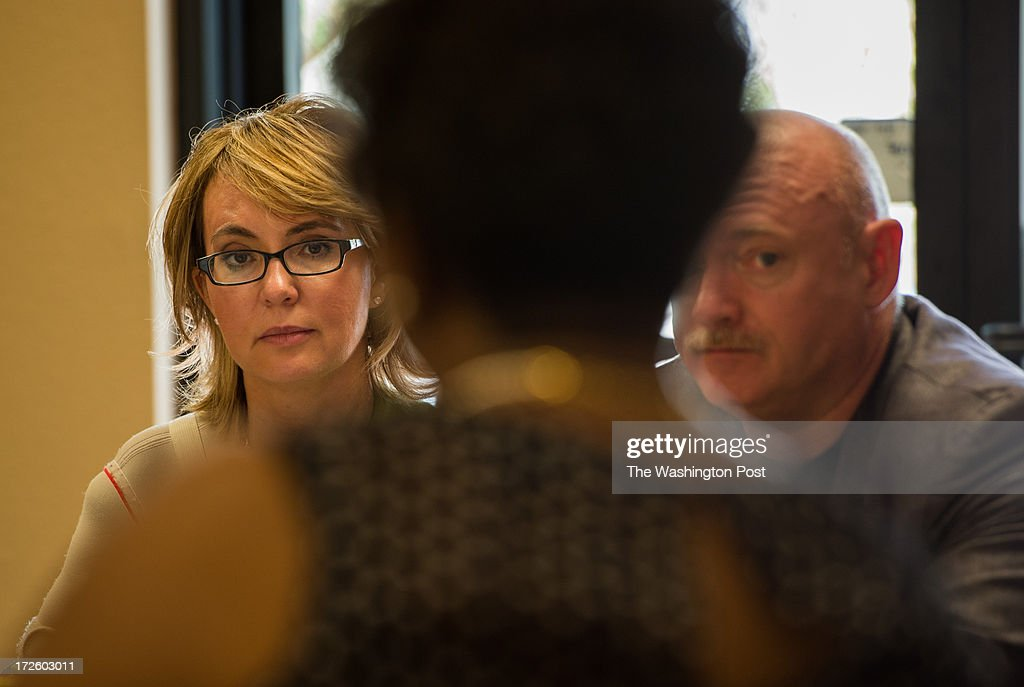 Former U.S. Representative Gabrielle Giffords and her husband former astronaut Captain Mark Kelly kick off their Americans for Responsible Solutions tour in Las Vegas, Nevada, on Monday, July 1, 2013. The couple met with local business owners to discuss the issue of responsible gun legislation.