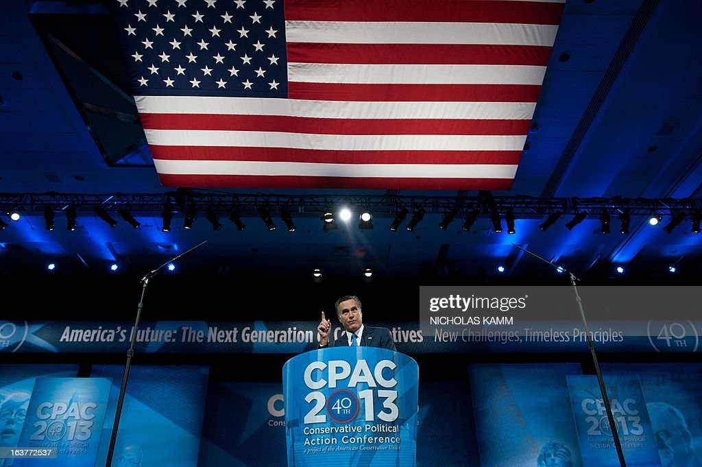 Former US Republican presidential candidate Mitt Romney speaks at the Conservative Political Action Conference (CPAC) in National Harbor, Maryland, on March 15, 2013. AFP PHOTO/Nicholas KAMM