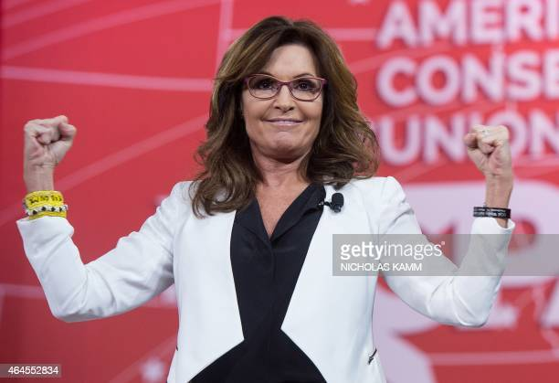 Former US Republican vice presidential candidate Sarah Palin gestures at the annual Conservative Political Action Conference at National Harbor...