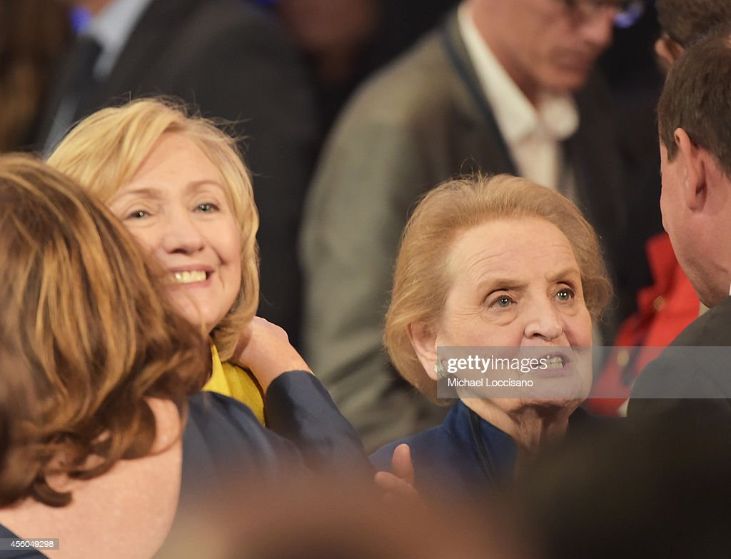 Former US Secretaries of State <a gi-track='captionPersonalityLinkClicked' href=/galleries/search?phrase=Hillary+Clinton&family=editorial&specificpeople=76480 ng-click='$event.stopPropagation()'>Hillary Clinton</a> and <a gi-track='captionPersonalityLinkClicked' href=/galleries/search?phrase=Madeleine+Albright&family=editorial&specificpeople=211429 ng-click='$event.stopPropagation()'>Madeleine Albright</a> attend the Closing Plenary Session: 'Aiming for the Moon and Beyond' during the fourth day of the Clinton Global Initiative's 10th Annual Meeting at the Sheraton New York Hotel & Towers on September 24, 2014 in New York City.