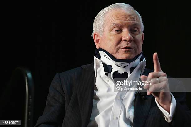 Former US Secretary of Defense Robert Gates discusses his new book 'Duty' during an event sponsored by Politico at the Mayflower Renaissance Hotel on...