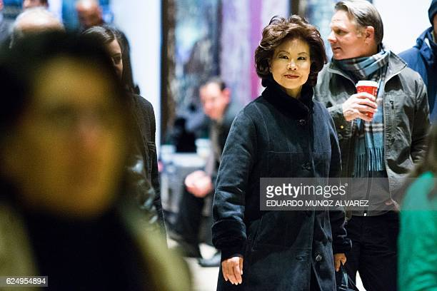 Former US Secretary of Labor Elaine Chao arrives at Trump Tower on another day of meetings scheduled with Presidentelect Donald Trump on November 21...