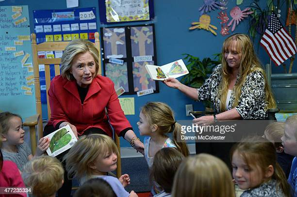 Former US Secretary of State and Democratic presidential candidate Hillary Clinton reads 'The Very Hungry Caterpillar' to a preK class with teacher...