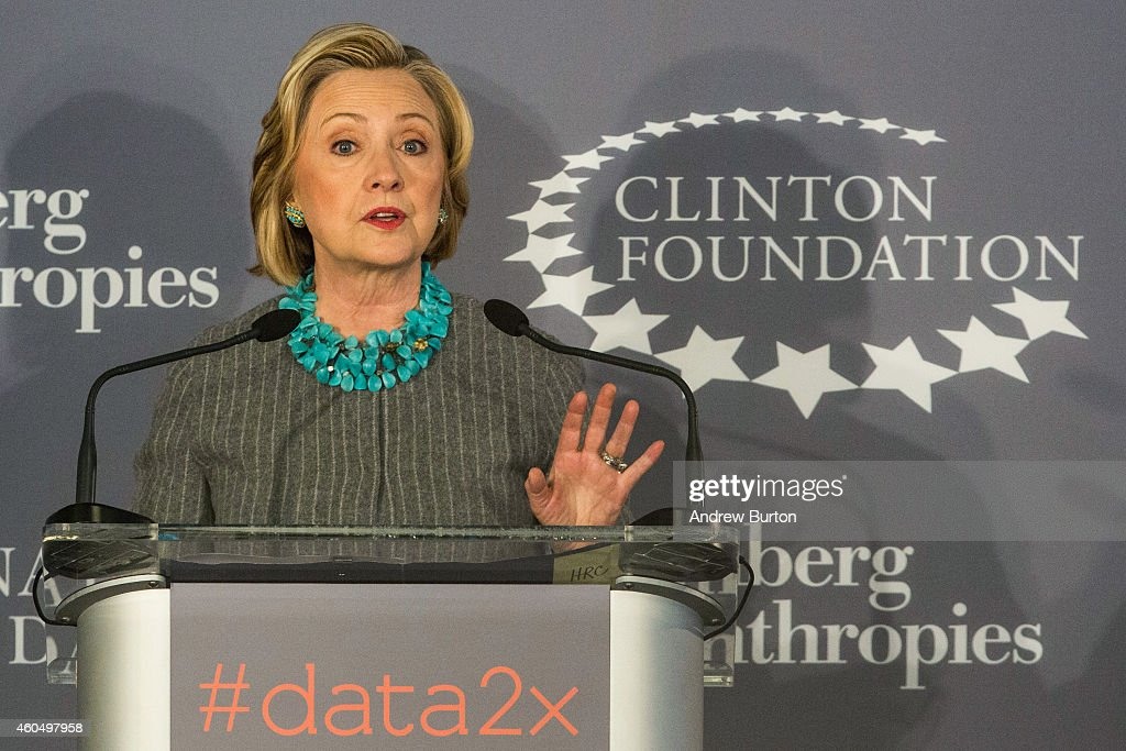 Former U.S. Secretary of State and first lady <a gi-track='captionPersonalityLinkClicked' href=/galleries/search?phrase=Hillary+Clinton&family=editorial&specificpeople=76480 ng-click='$event.stopPropagation()'>Hillary Clinton</a> speaks at a press conference announcing a new initiative between the Clinton Foundation, United Nations Foundation and Bloomberg Philanthropies, titled Data 2x on December 15, 2014 in New York City. Data 2x aims to use data-driven analysis to close gender gaps throughout the world.
