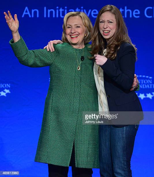 Former US Secretary of State and US Senator from New York Hillary Rodham Clinton and daughter Chelsea Clinton Vice Chair Clinton Foundation attend...