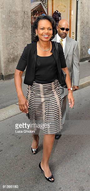 Former US Secretary of State Condoleezza Rice shops at Salvatore Ferragamo on October 4 2009 in Milan Italy