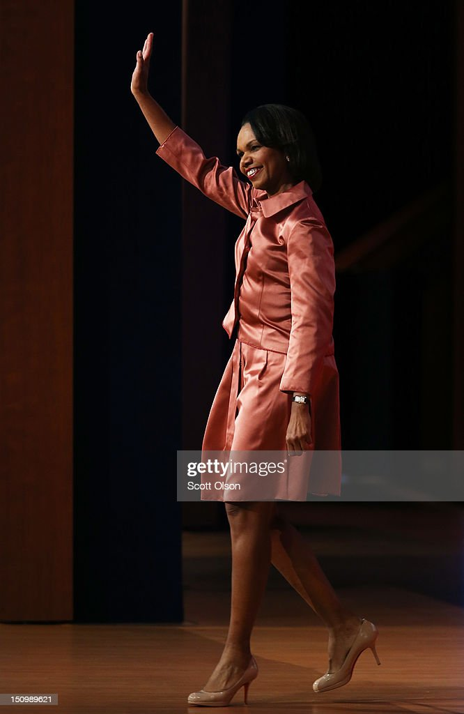 Former U.S. Secretary of State <a gi-track='captionPersonalityLinkClicked' href=/galleries/search?phrase=Condoleezza+Rice&family=editorial&specificpeople=157540 ng-click='$event.stopPropagation()'>Condoleezza Rice</a> waves as she takes the stage during the third day of the Republican National Convention at the Tampa Bay Times Forum on August 29, 2012 in Tampa, Florida. Former Massachusetts Gov. Mitt Romney was nominated as the Republican presidential candidate during the RNC, which is scheduled to conclude August 30.