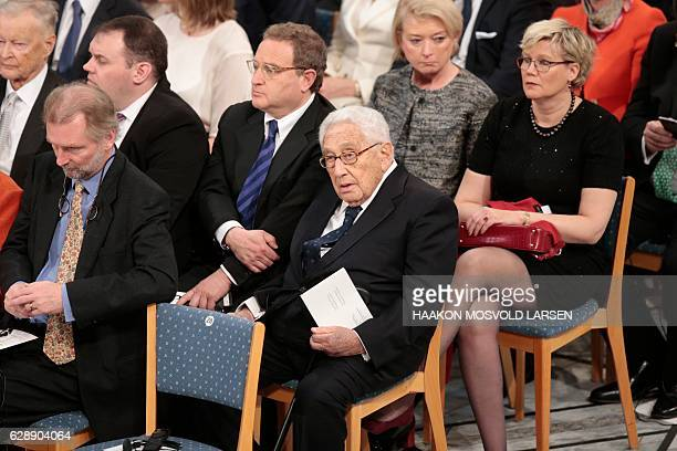 Former US Secretary of State Henry Kissinger attends the Peace Prize awarding ceremony at the City Hall in Oslo on December 10 2016 President Juan...