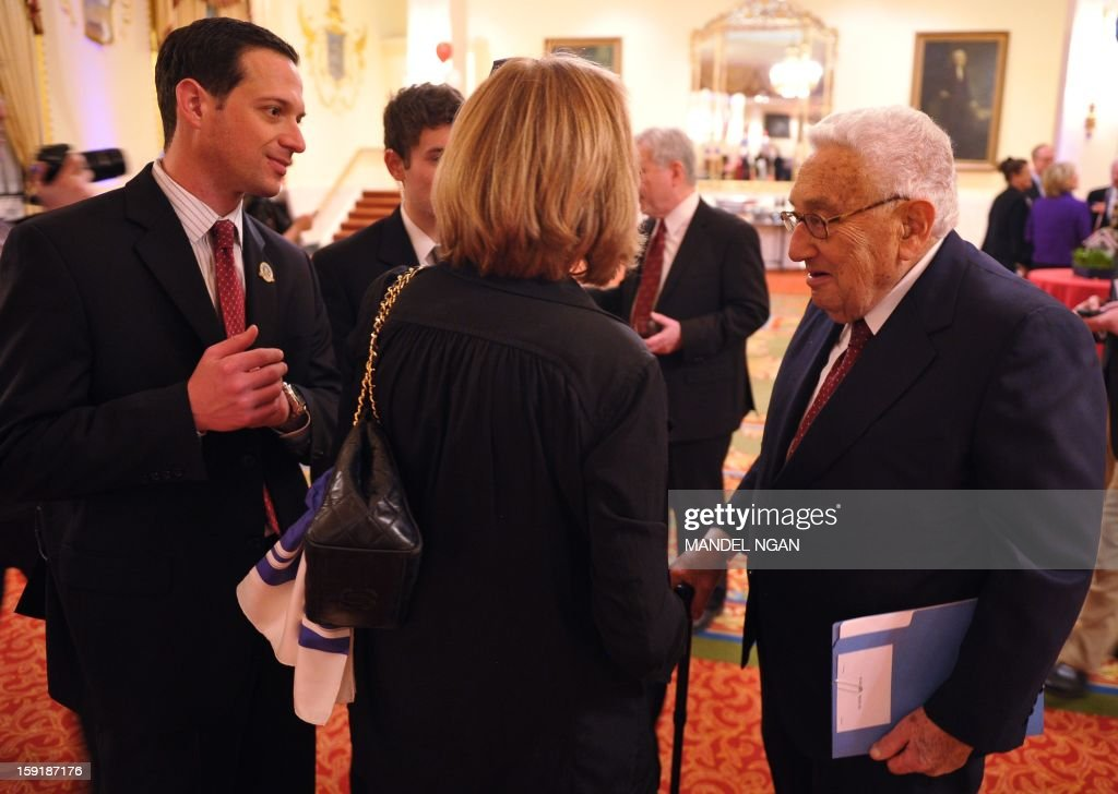 Former US secretary of state Henry Kissinger speaks during a celebration on the 100th birthday of former US president Richard Nixon on January 9, 2013 at a hotel in Washington, DC. AFP PHOTO/Mandel NGAN