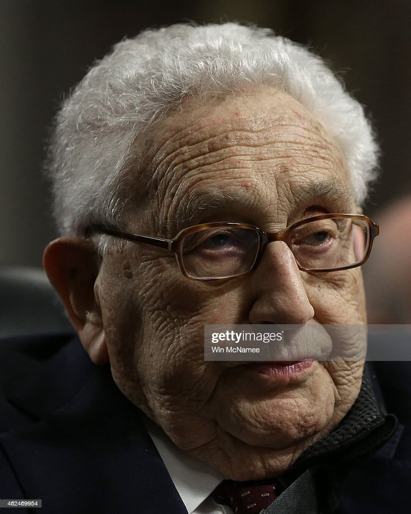 Former US Secretary of State Henry Kissinger testifies before the Senate Armed Services Committee January 29 2015 in Washington DC The committee...